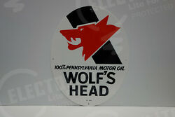 Wolfand039s Head 100 Pennsylvania Motor Oil Ovular Sign 22 High By 17 Wide