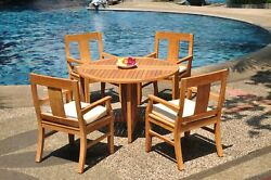 5-piece Outdoor Teak Dining Set 48 Butterfly Round Table 4 Arm Chairs Osbo
