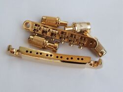 Gold Tune-o-matic Bridge And Stop Tail Bar For 12 String Electric Guitar Lp