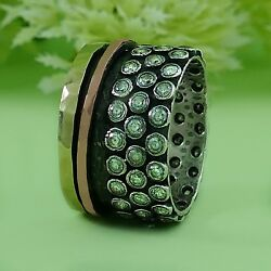 Spinner Two Tone 9k Yellow And Rose Gold Silver 1.6 Carat Cubic Zirconia Ring Size