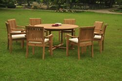 7-piece Outdoor Teak Dining Set 60 Round Table 6 Stacking Arm Chairs Napa