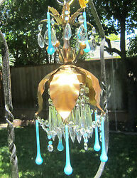 Vintage Beaded Gilt Tole Brass Lamp Chandelier Italy Blue Prisms Opalin Lily