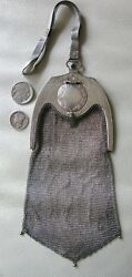 Antique Blue Jewel STERLING SILVER Micro Mesh W&D PICCADILLY COMPACT Purse 1918
