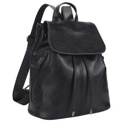 Belle & Lily Black Genuine Pebbled Leather Backpack Purse Casual Daypack for...