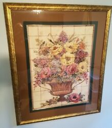 Beautiful Marked Sic 53.5 X 35.5 Somerset Custom Framed Floral Print Picture