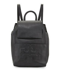 NEW WOMEN'S TORY BURCH (48305) BOMBE T FLAP BLACK PEBBLED LEATHER BACKPACK BAG