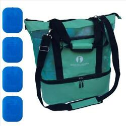 Red Suricata Improved Mesh Beach Bag with Leak-proof Rigid Cooler (Turquoise)