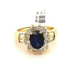 Vintage Ladies 14k Yellow Gold 1.50ct Oval Sapphire Engagement Ring W/ Diamonds