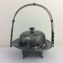 Antique Manhattan Silver Plate Co. Covered Butter Dish Tray Basket W/ Birds