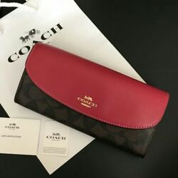 COACH Ladies Wallet Purse Red × Brown PVC Coating Canvas × Leather Classic M03