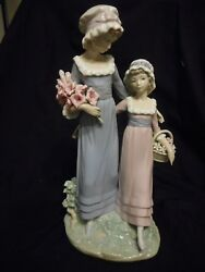 Lladro 2 Girls With Flowers 1990 And039daughtersand039 5013 Retired