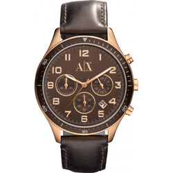 Ax5102 New Genuine Armani Exchange Ladies Rose S/s Watch On Leather Rrp Andpound170