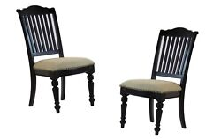 6pc Set Dining Room Side Chairs Black Vintage & Linen Fabric Finish Nailheads