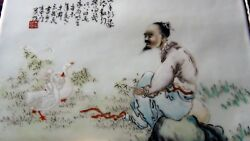 Antique Chinese Painting On Porcelain Plaque Of A Man With Two Geesesighedandseal