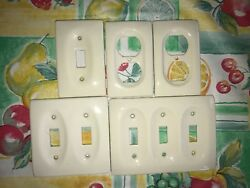 5 Off White Ceramic Porcelain Light Switch Wall Plate Receptacle Covers