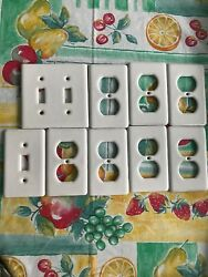 9 Off White Ceramic Porcelain Light Switch Wall Plate Receptacle Covers