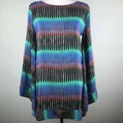 Alexis Black Green Silk Tunic Top Size S Flared Arms Geometric Boat Neck Blouse
