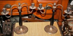 Antique Candlestick Holders Silver Metal Wood Pair Grape Cluster Top