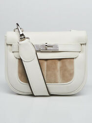Hermes White Swift Leather and Suede Berline Mini Bag