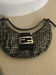 Fendi hobo baguette gold black evening bag purse