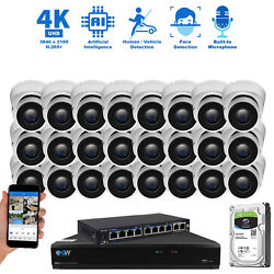 32 Channel 8MP 3840 x 2160p NVR (24) 4K HD IP Dome PoE Security Camera System