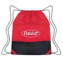 Peterbilt Trucks Motors Two Tone Red & Black Cinch Sack School Travel Bag