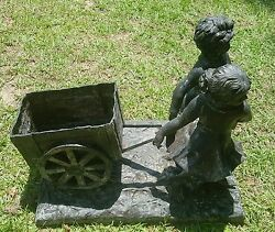 Cast Bronze Sculpture Boy And Girl Pulling A Wagon-perfect Anywhere-inside Or Out