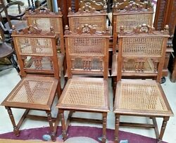 Set Of 6 Antique Oak French Dining Chairs With Caned Back And Seat Carved Crest