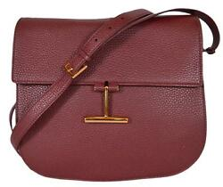 NEW Tom Ford Women's $1990 Burgundy Red Leather Crossbody Purse Saddle Bag