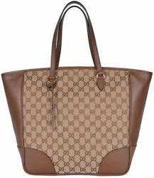 New Gucci Women's 449242 Beige Brown Large Bree GG Guccissima Purse Handbag Tote