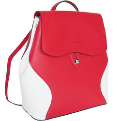 CROMIA Made in Italy women's fashion trendy red & white leather backpack