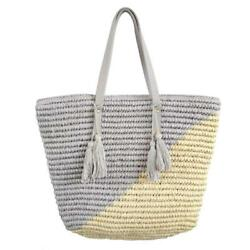 Straw Beach Tote Shoulder Bag Womens Large - Washable Lining Leather Handle...