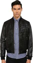 Just Cavalli Menand039s Reptile Texture Shearling Jacket Black Large