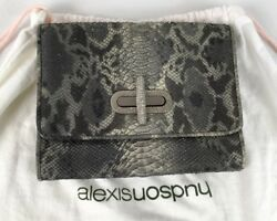 ALEXIS HUDSON Sparked Snake Leather Evening Clutch Bag Silver Turnlock Clasp