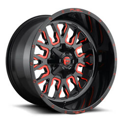 22x12 Fuel Offroad Stroke D612 Wheels 5x5.55x150 ET-44 Black Red