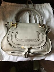 CHLOE MARCIE MEDIUM Satchel Crossbody Shoulder Bag - CLOUDY WHITE  - NWT