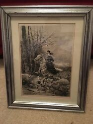 W H Shelton Woman Horse Jumping With Dog Etching 1890's