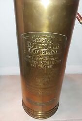 General Quick Aid Fire Guard Model Wc-400 Water Fire Extinguisher Vintage Brass