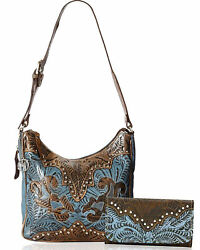 Dual Entry Concealed Carry Leather Hobo + Wallet- American West Blue