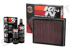 K&N 33-5000 Hi-Flow Air Intake Drop in Filter + 99-5050 Recharger Cleaning Kit