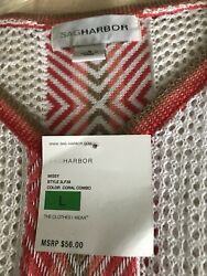 SAG HARBOR Womens Coral White Stripe Poncho SwimsuitTop Cover Up Size Large