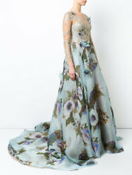 New Marchesa Gold Lace Panel Flared Gown Dusty Blue Floral Long Sleeve 6 8