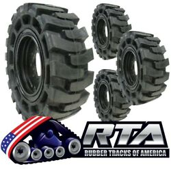 Set Of 4 Solid Skid Steer Tires Fits Case 8 Lug Flat Proof 12x16.5 Free Shipping