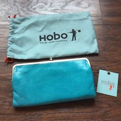 NEW Lauren Turquoise Genuine Leather HOBO International Clutch Wallet NWT $110