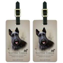 Scottish Terrier Scottie Dog Breed Luggage ID Tags Carry-On Cards - Set of 2