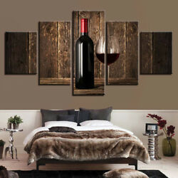 Bottle Of Wine Glass Bar Drinks Poster 5 Panel Canvas Print Wall Art Home Decor