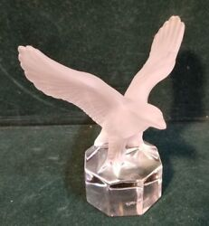 Goebel Crystal Frosted Eagle In Flight 4.5 Paperweight Figurine Clear Base M91