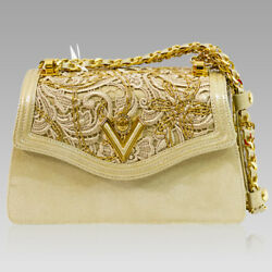 Valentino Orlandi Designer Platinum Lace Embroidered Leather Purse Chain Bag