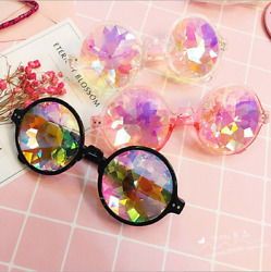 Round Glasses Kaleidoscope Eyewears Crystal Lens Party Rave EDM Sunglasses $8.31