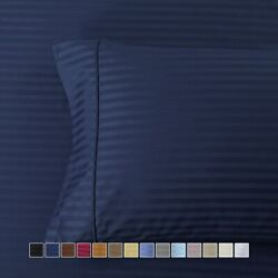 Pair Standard Or King Pillowcases Ultra Soft 100 Cotton 600 Thread Count Stripe